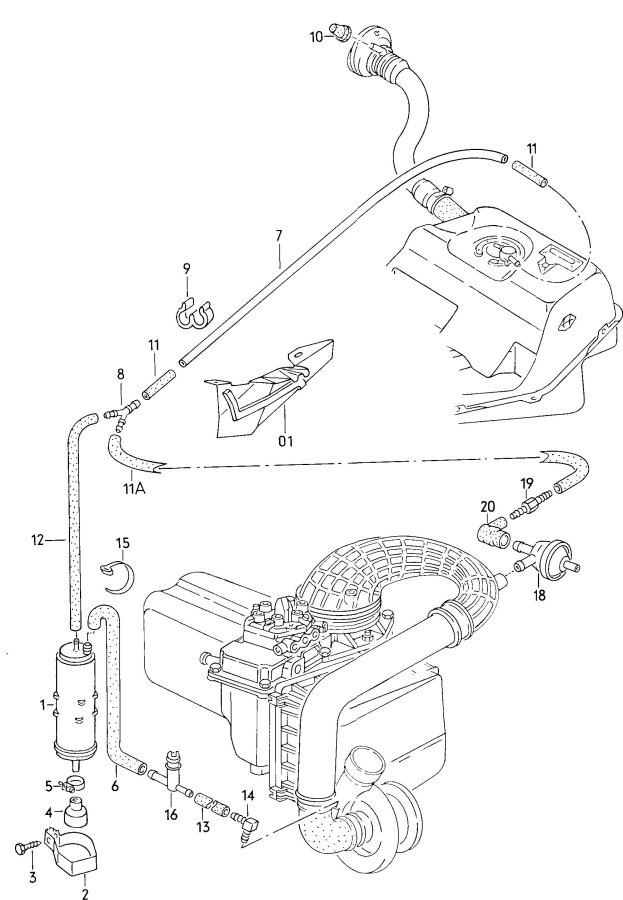 service manual  replace evap canister on a 1985 audi 4000s