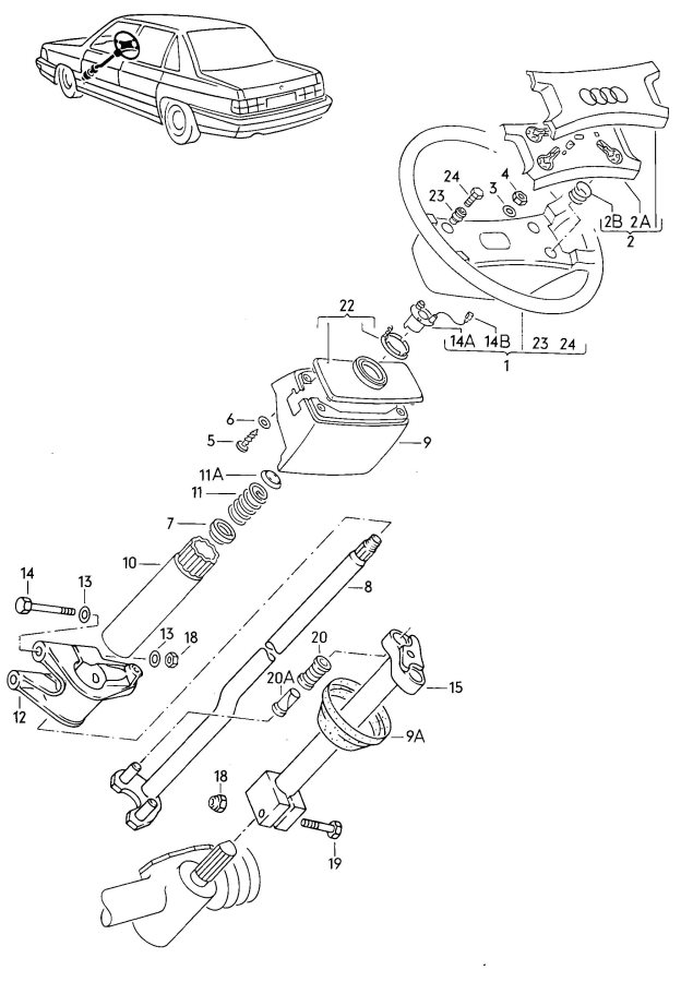 service manual  1984 audi 5000s tilt steering column