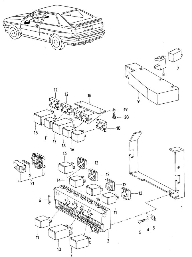 1997 Audi A8 Relay Turn Signal  Emerg Light Relay Location