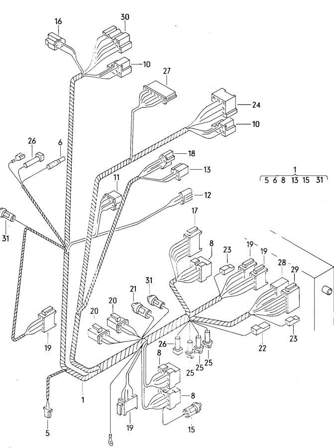1987 audi dashboard harness harness on