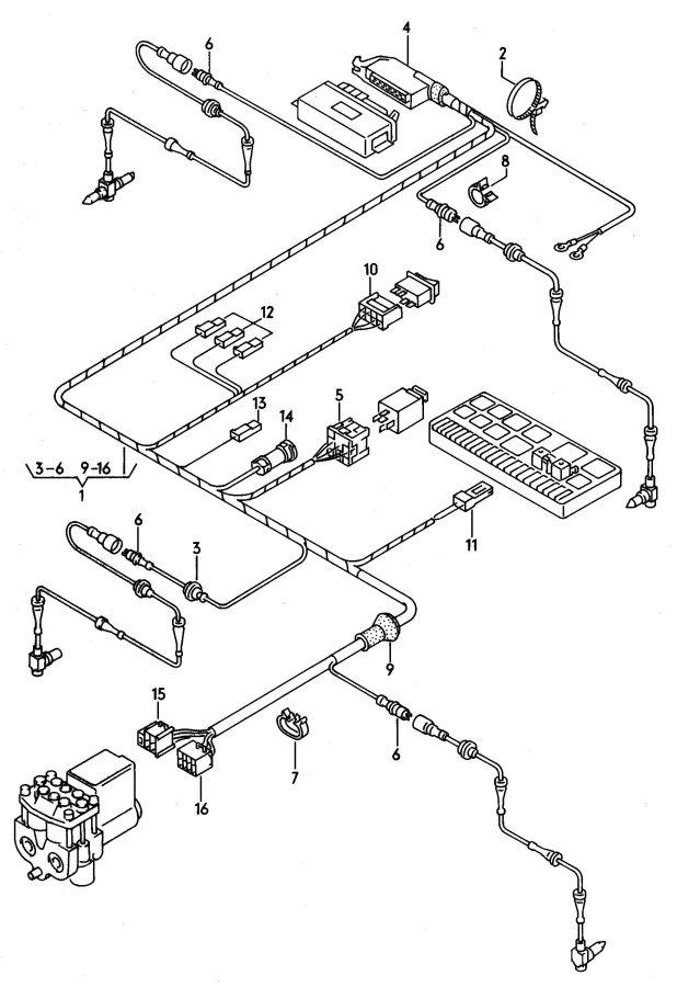 audi 100 harness for anti locking brake system