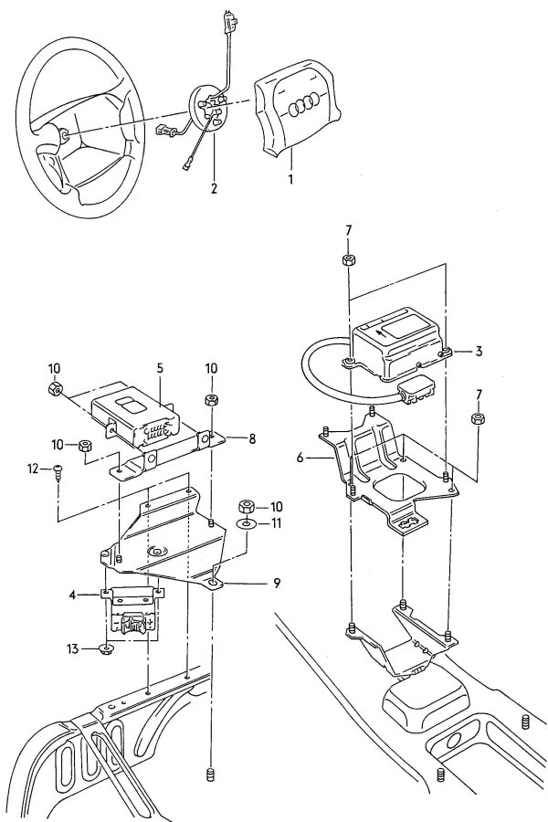 audi 100 airbag airbag unit for steering wheel    caution