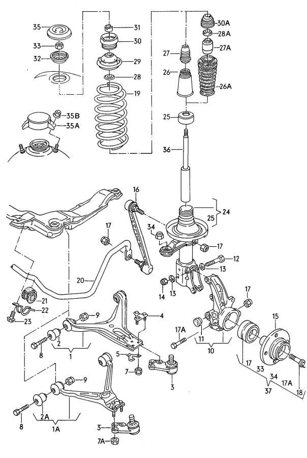 Audi 80 Suspension Strut Tube  Suspensionstrut  Shock