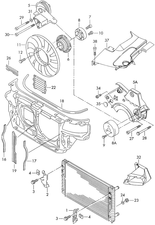 2001 Audi S4 Avant Radiator Blind  Radiator Cover