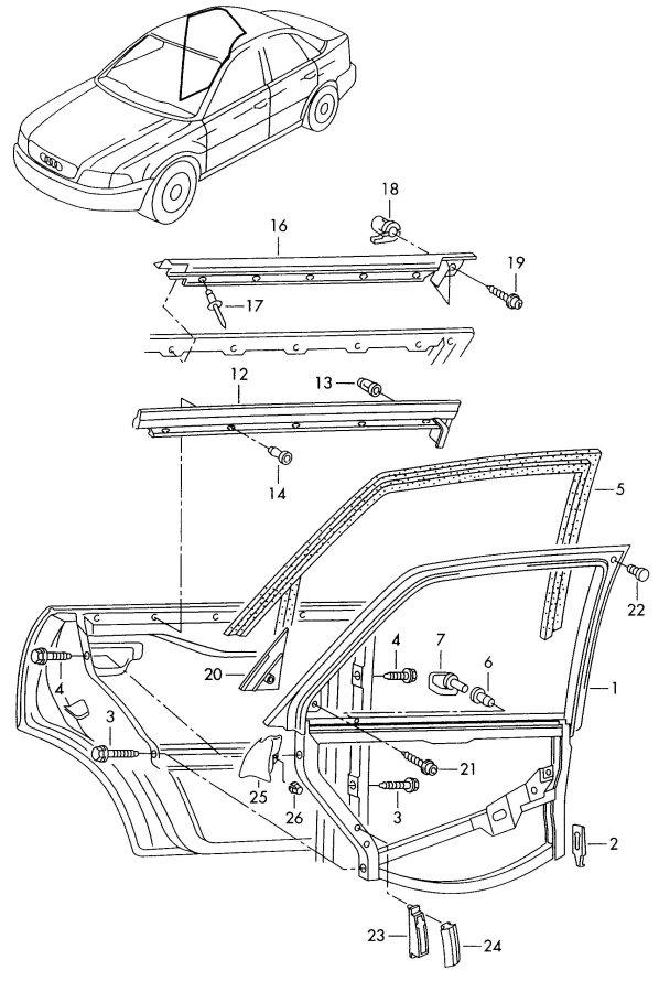 2001 Audi A4 Window Slot Seal