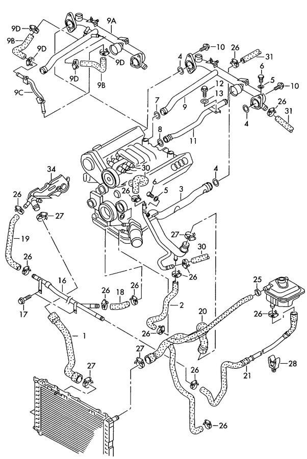 Audi A4 Quattro Avant Water hose - 4A0121055E | Jim Ellis ...