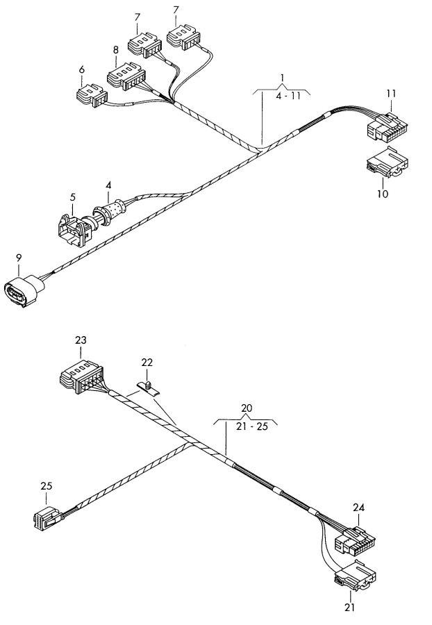 2001 audi a4 avant harness  rear harness for window lifter harness for telephone harness for