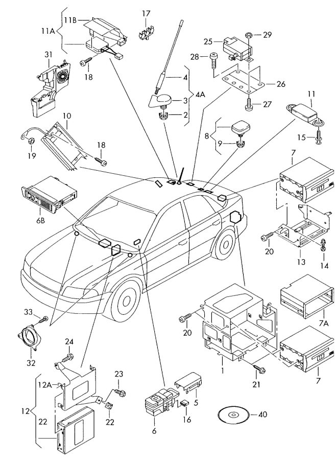 2000 Audi Roof Antenna Hex  Nut Antenna Base  Nut  Hex Rod