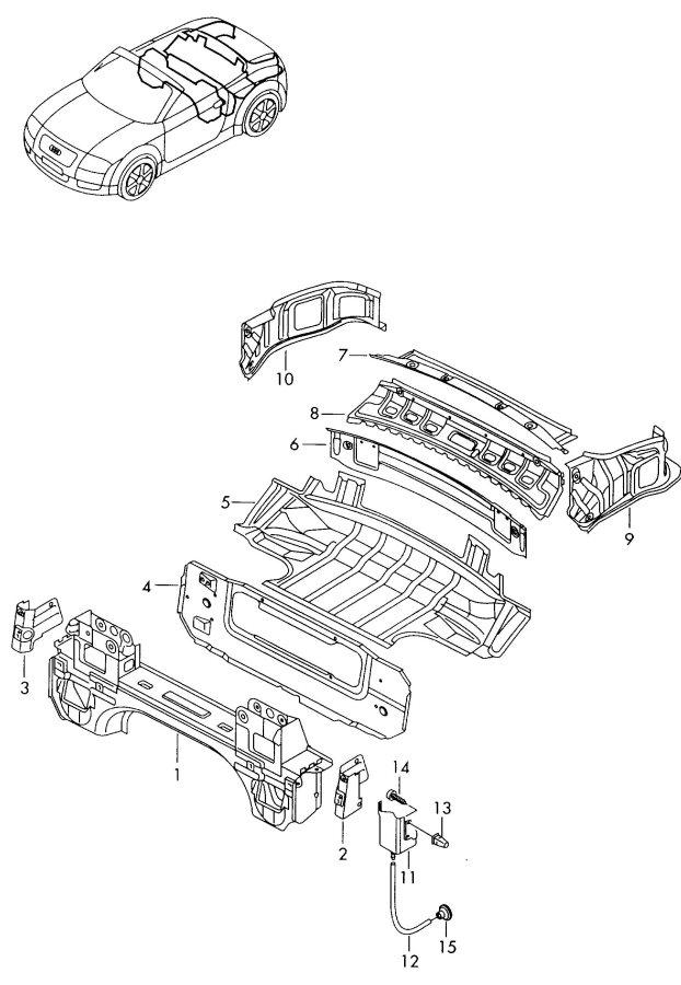 2002 Audi Tt Coupe Top Stowage Box Rear Panel