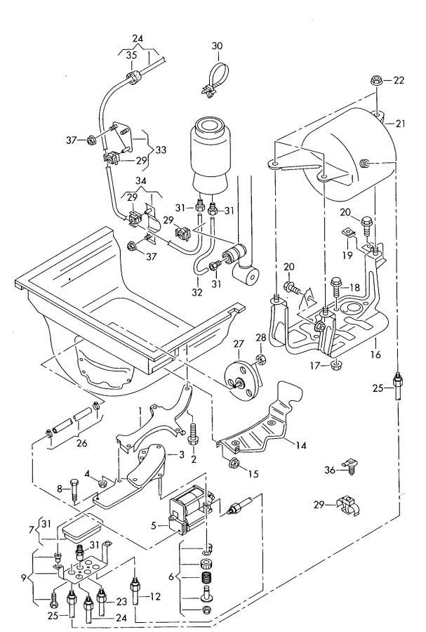 Air Supply Parts : Audi a quattro allroad air supply unit connecting parts