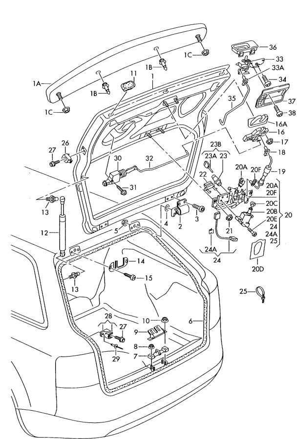 2001 Audi A6 Avant Operating Lever