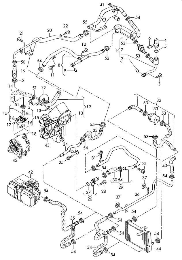audi water cooling alternator oil cooler 6 0ltr