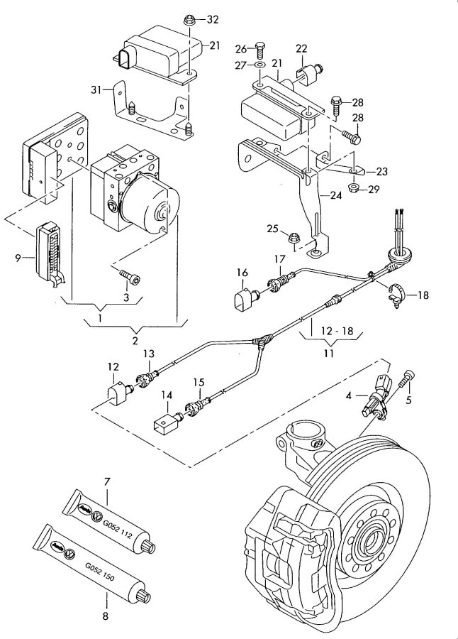 2006 Audi A3 Wiring Conduit Beam Length Regulator Beam