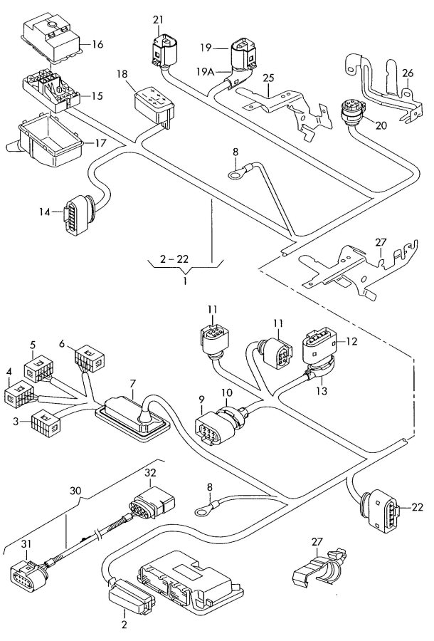 2005 Audi A3 Oxygen Sensor Male Blade Terminal Housing