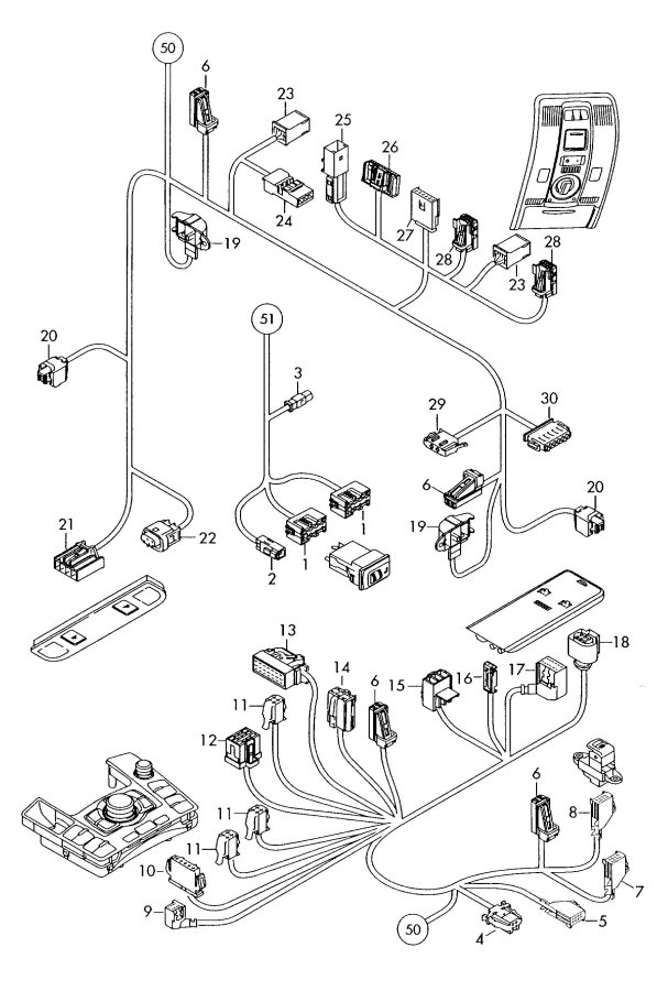 2008 Audi A6 Quattro Control Unit For Air Condit  Connecting Piece Central Wiring Harness