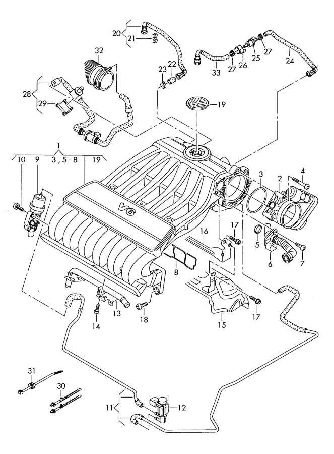 Audi Q7 Vacuum Hoses With Connecting Parts