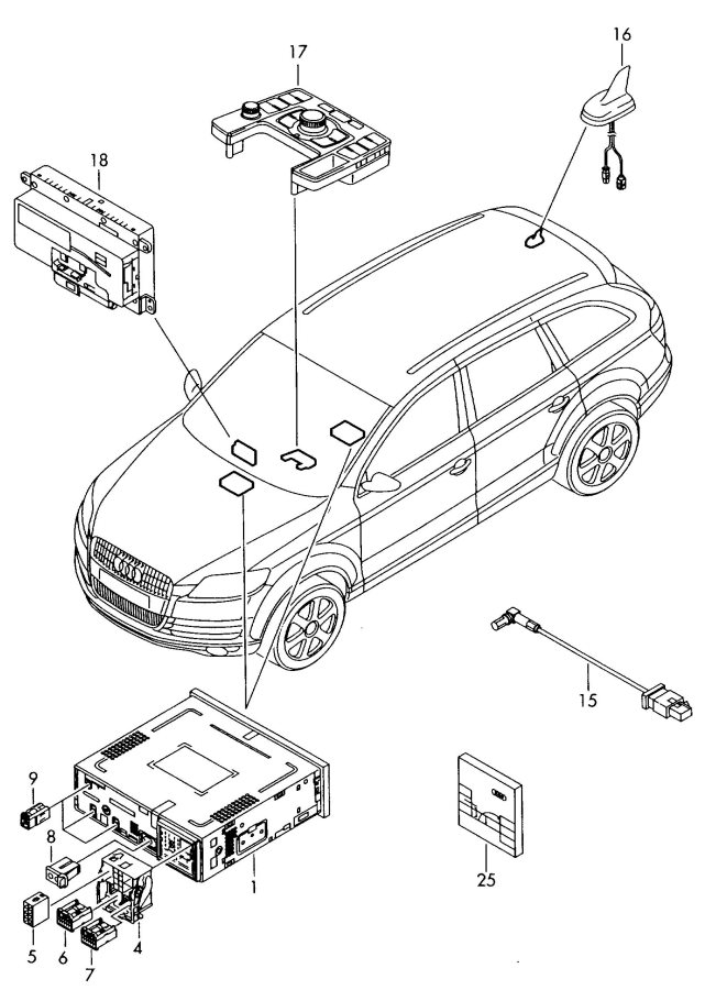 2009 Audi Q7 Loudspeaker Interfacebox Flat Contact Housing