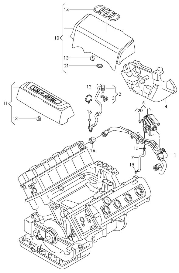 Audi Q7 Vent Tube  Breather Tube  Ventilation