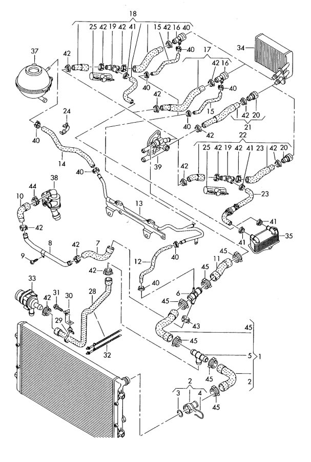 Water cooling supply 2.0ltr. Audi TT Coupe/Roadster (ATT): BPY; CDMA  #3F3F3F