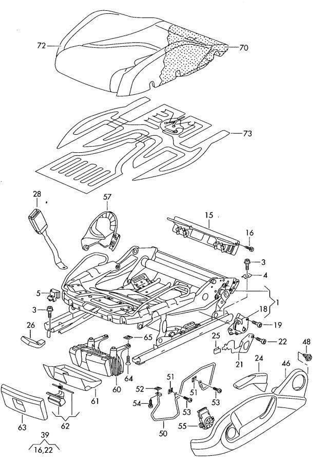 1k0881053a Audi Adjuster Height Adjustment Seat