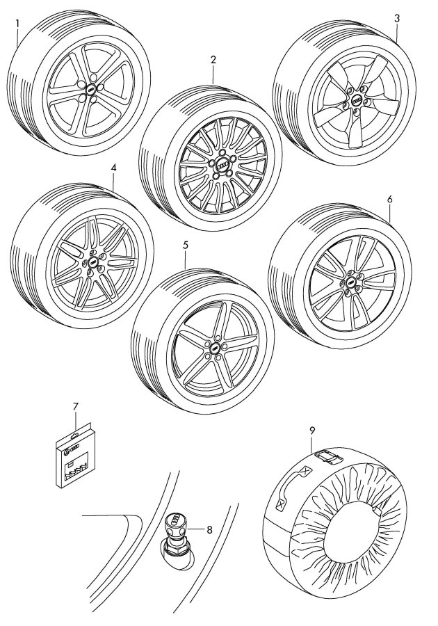 Diagram Original accessories bag cap for valve unit rim locks wheel disc 'alum.' with wheel disc 'alum' with winter summer tire tire *no fi-function possible *no fi-function possible       not for: for your 2011 Audi S5 Cabriolet