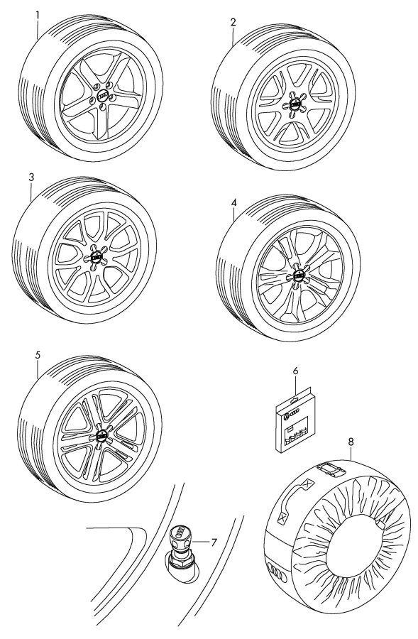 Diagram Original accessories bag cap for valve unit rim locks wheel disc 'alum' with winter tire *no fi-function possible *no fi-function possible       not for: for your 2011 Audi S5 Cabriolet