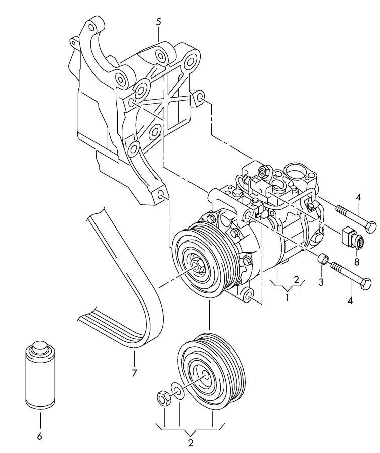 Audi A8 Quattro Pulley For Refrigerant Compressor  V Belt