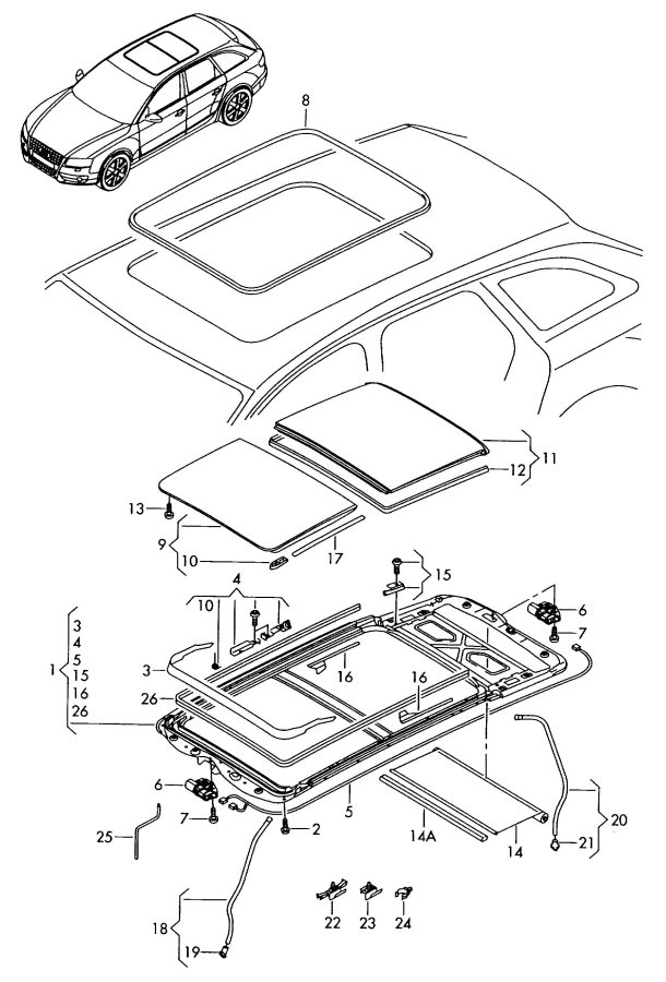 2011 Audi A4 Avant Sunshade 1 Set Cables  Roller Blind  Big