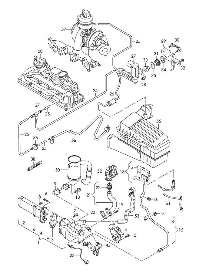 audi exhaust recirculation vacuum system 2 0ltr
