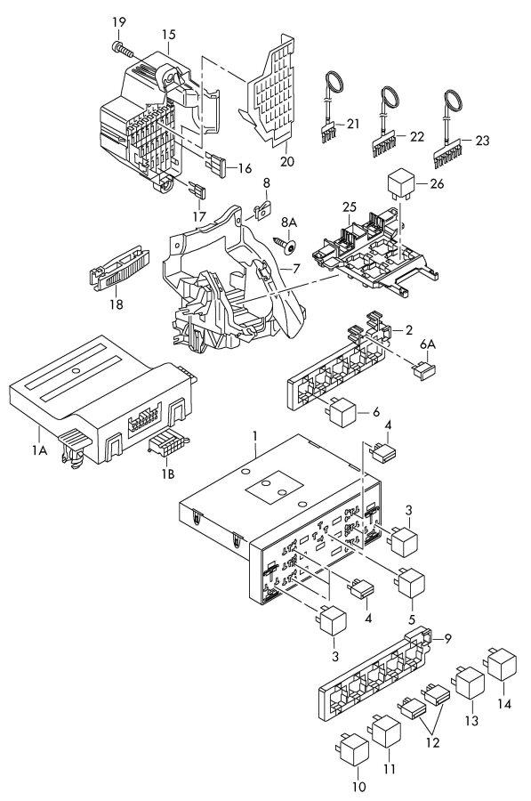 Audi A3 Relay Relay Location  Code No    Control Unit