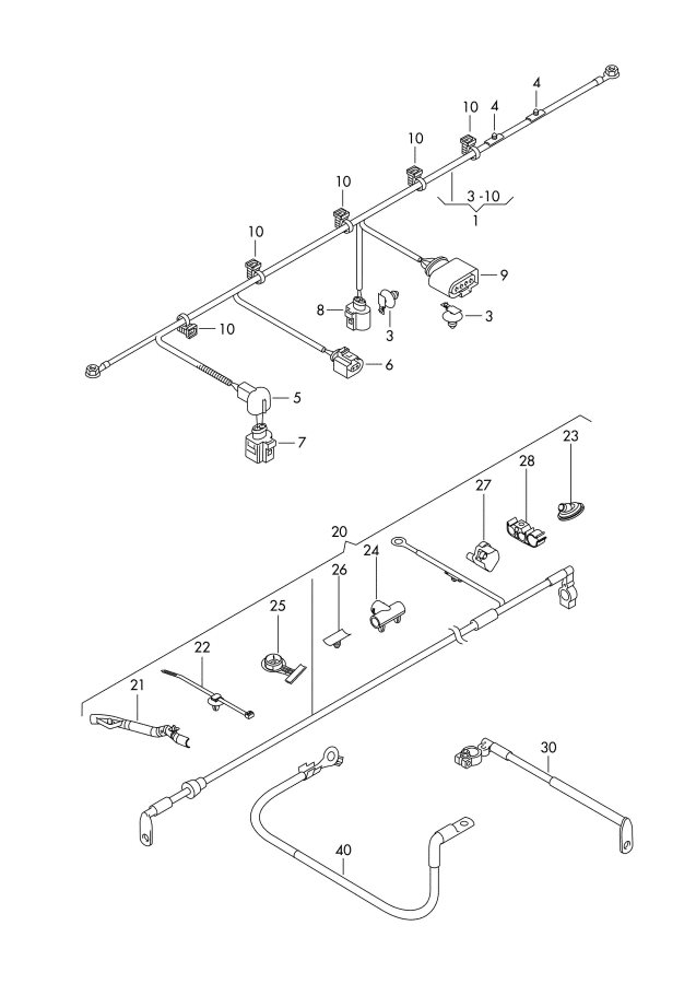2011 Audi A3 Wiring Conduit  Startstop  Positive