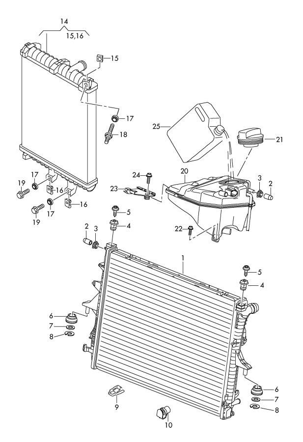 audi radiator reservoir additional radiator
