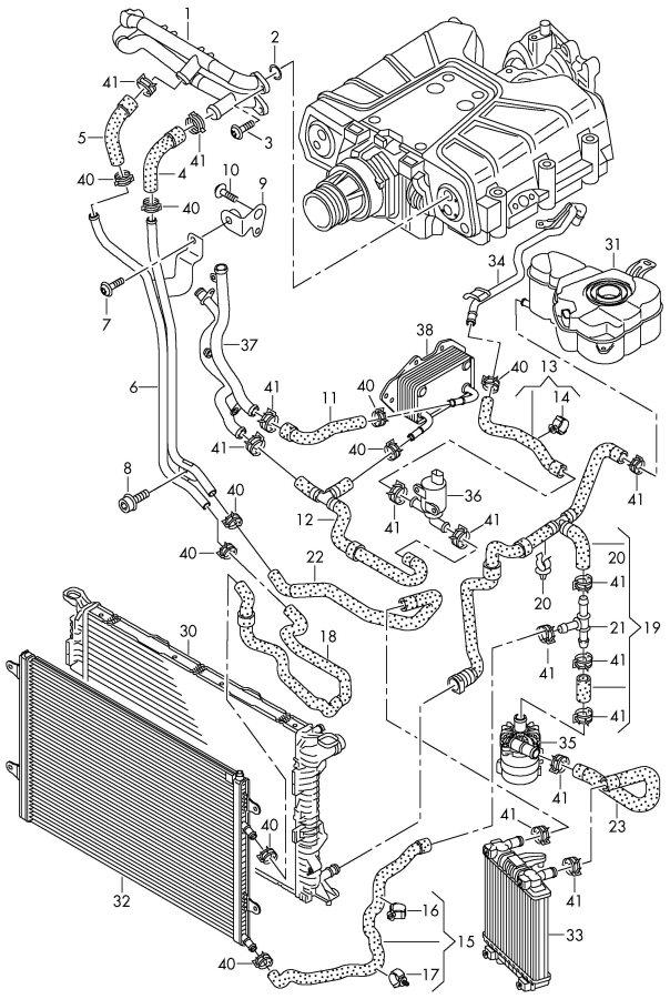 Audi A8 Quattro Engine Coolant Hose  Supercharger  Rightgas