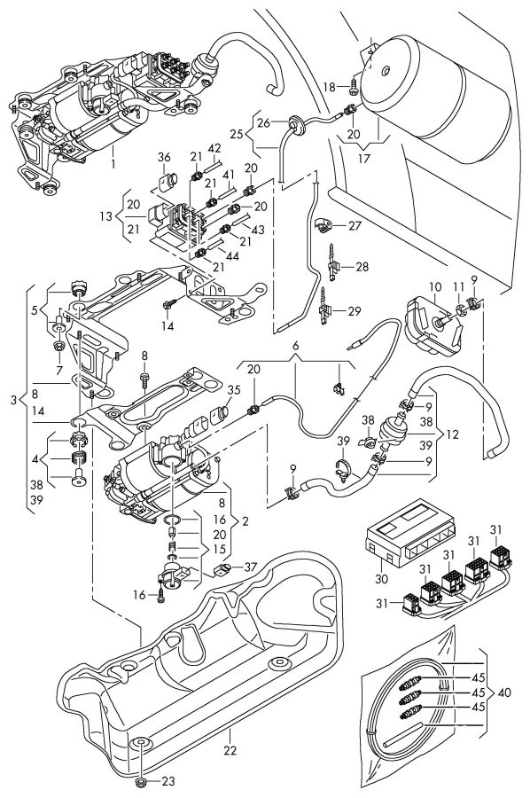 Air Supply Parts : Audi air supply unit line connecting parts for self
