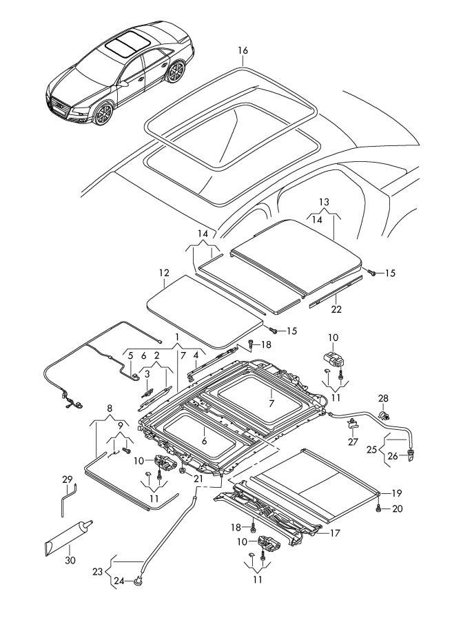 2012 Audi A8 Quattro Glass Sunroof