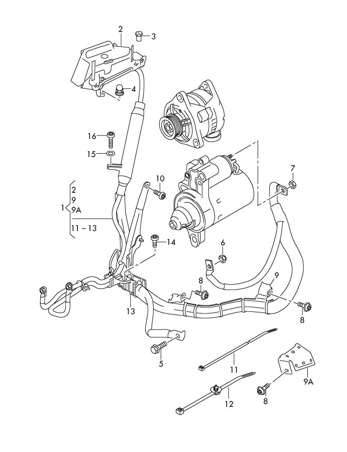 2011 Audi A8 Quattro Single Parts Wire Harness For Starter