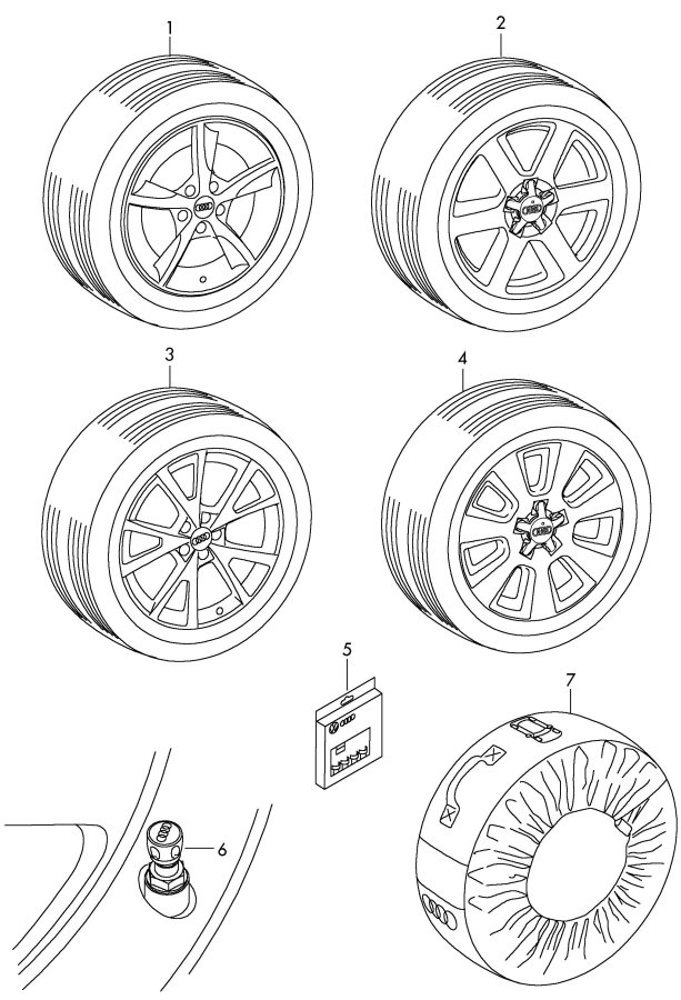 Diagram Original accessories bag cap for valve unit rim locks wheel disc 'alum' with winter tire *no fi-function possible       not for: for your 2011 Audi S5 Cabriolet