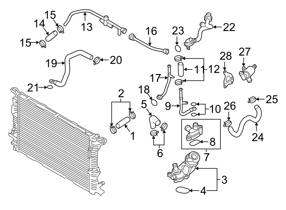 2016 Audi A8 Engine Coolant Hose  Outlet Hose  Radiator