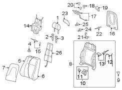 CONVERTIBLE SEAT BACK COMPONENTS W/O SPORT SEATS. FRONT SEAT COMPONENTS.